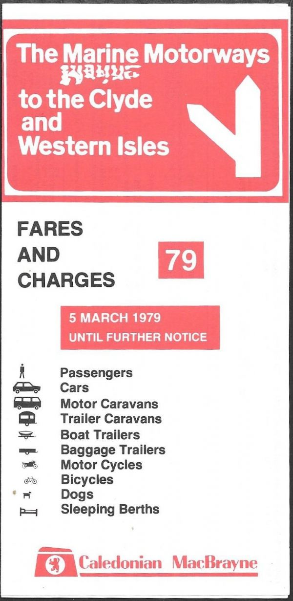 Caledonian MacBrayne - Fares and Charges 1979/3/5 - leaflet